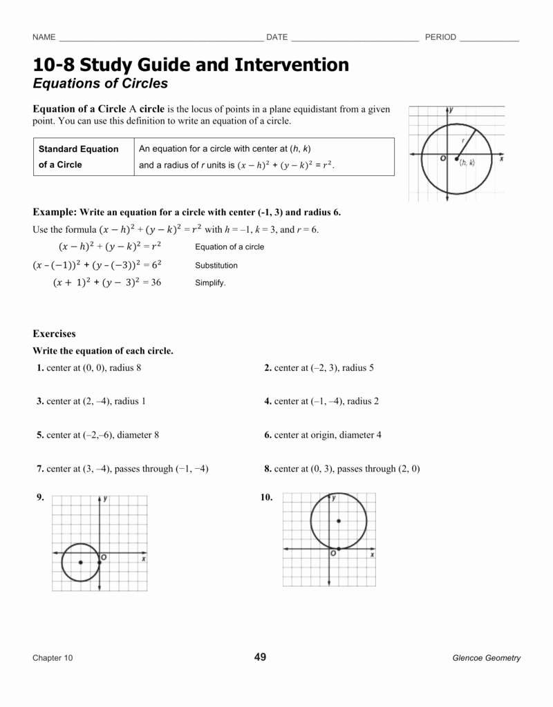 Equations Of Circles Worksheet Inspirational Equations Of Circles Worksheet