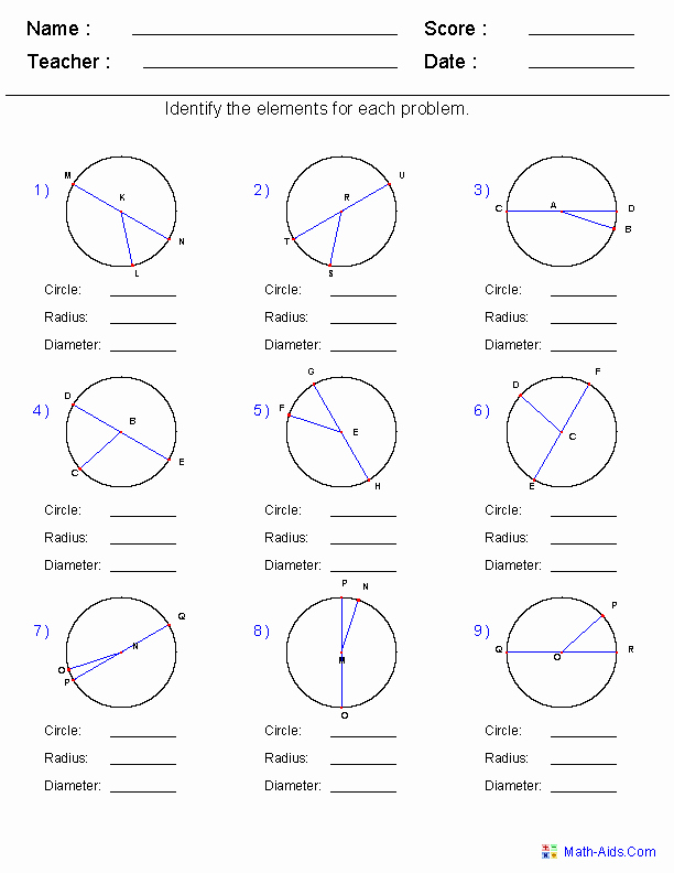 Equations Of Circles Worksheet Inspirational Geometry Worksheets