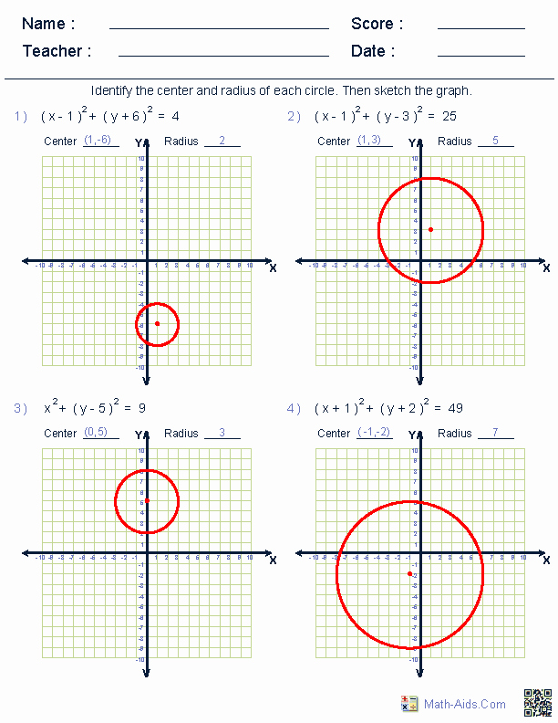 Equations Of Circles Worksheet Lovely Geometry Worksheets