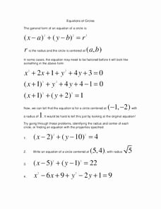 Equations Of Circles Worksheet Luxury Equations Of Circles Lesson Plans & Worksheets