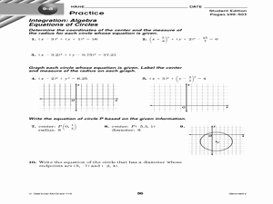 equations of circles practice