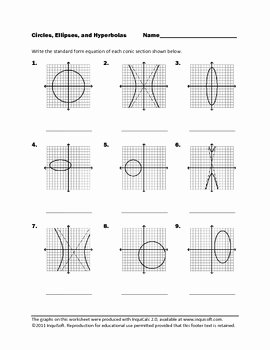 Equations Of Circles Worksheet New Circles Ellipses and Hyperbolas by Inquisoft