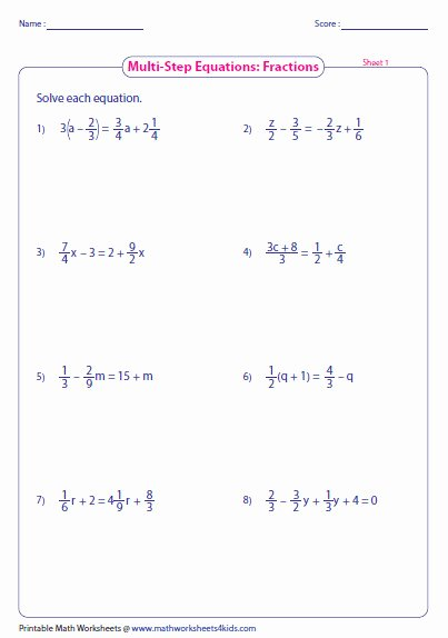 Equations with Fractions Worksheet Beautiful Equations with Fractions Worksheet