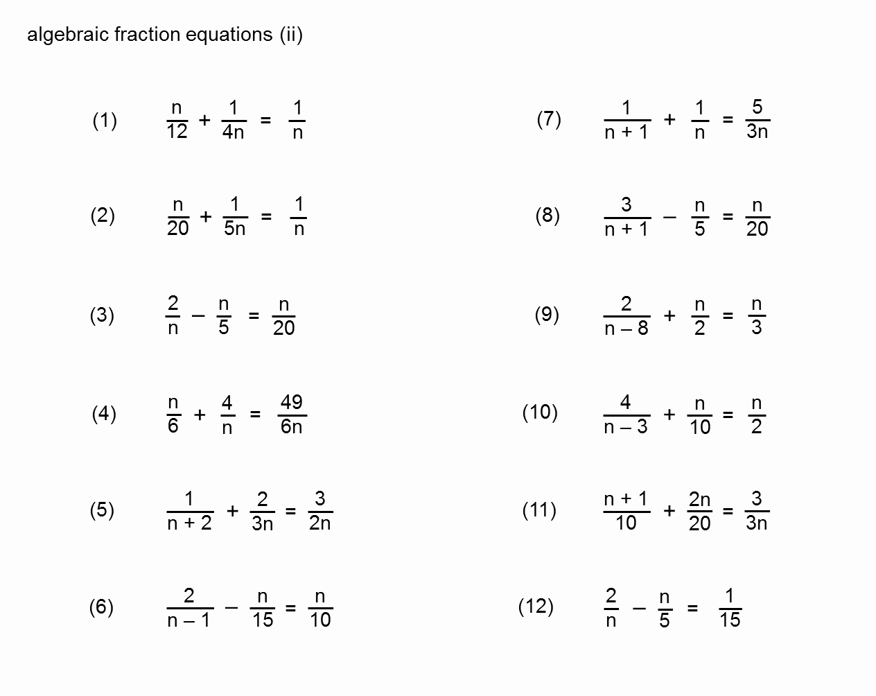 Equations with Fractions Worksheet Elegant Median Don Steward Mathematics Teaching Equations