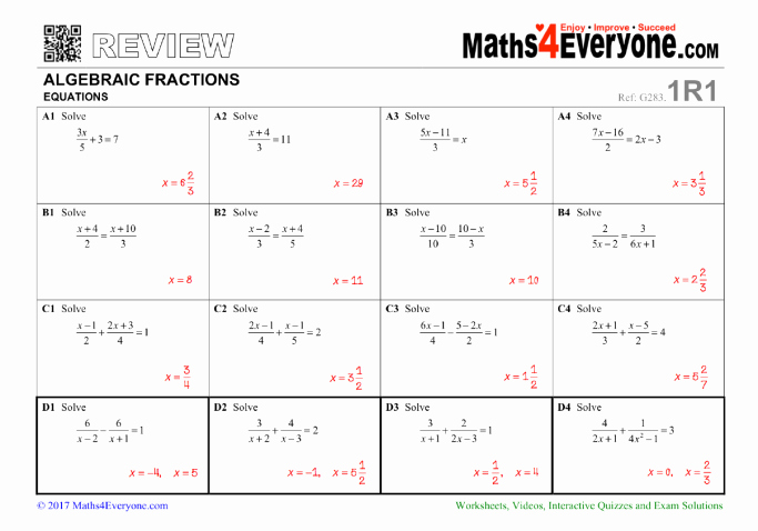 Equations with Fractions Worksheet Fresh Algebraic Fractions Gcse Revision Worksheet – solving