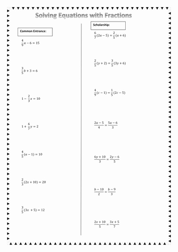 Equations with Fractions Worksheet Fresh solving Equations with Fractions by Chuiyl