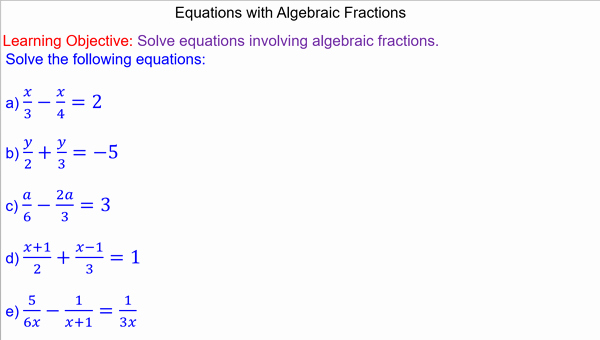 Equations with Fractions Worksheet Inspirational Equations with Algebraic Fractions Mr Mathematics