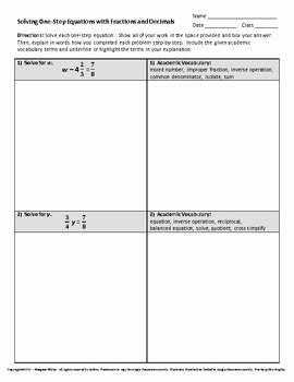Equations with Fractions Worksheet Lovely solving E Step Equations with Fractions and Decimals by