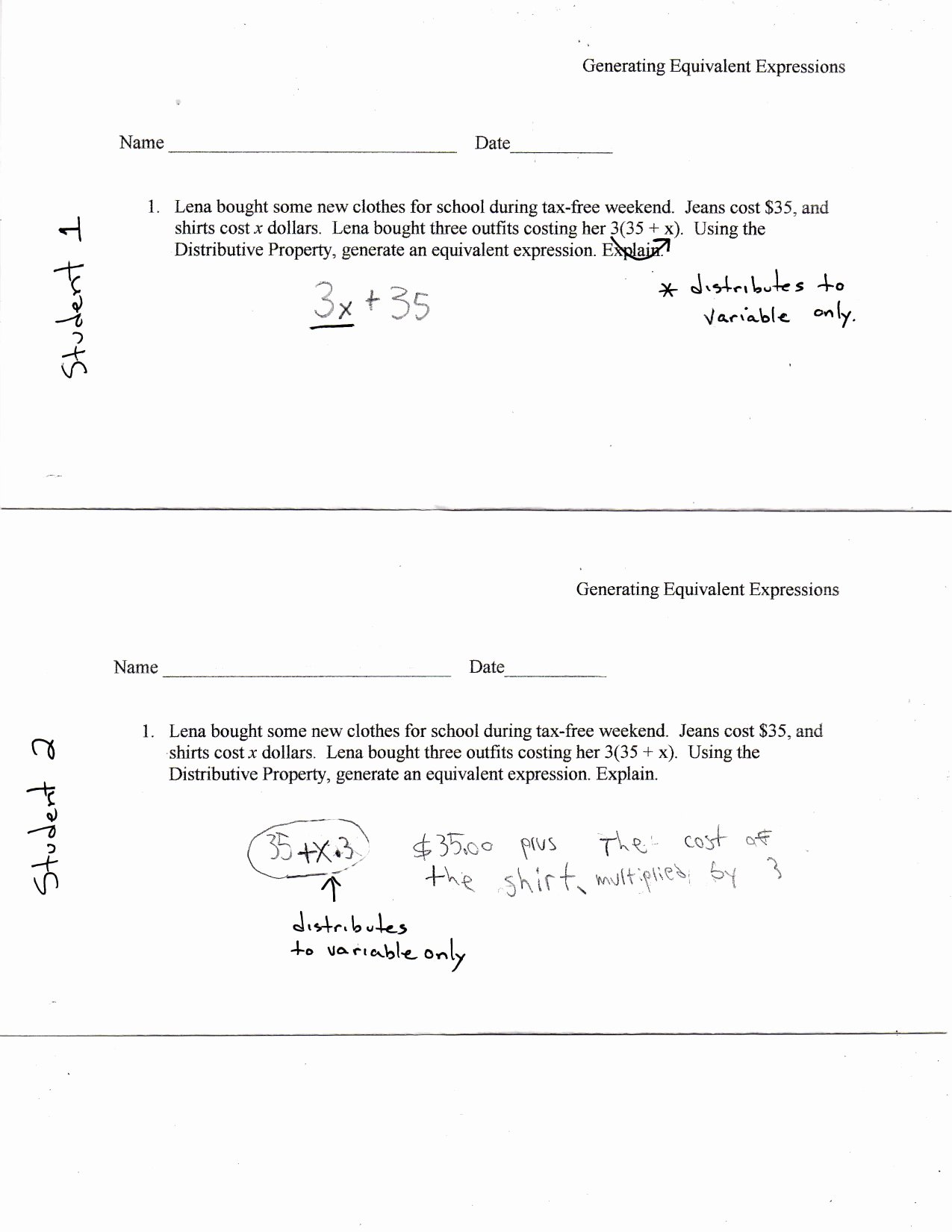 Equivalent Expressions Worksheet 6th Grade Best Of Generating Equivalent Expressions