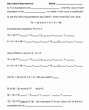 Equivalent Expressions Worksheet 6th Grade Elegant Mon Core Math 6th Grade Equivalent Expressions 6 Ee 3