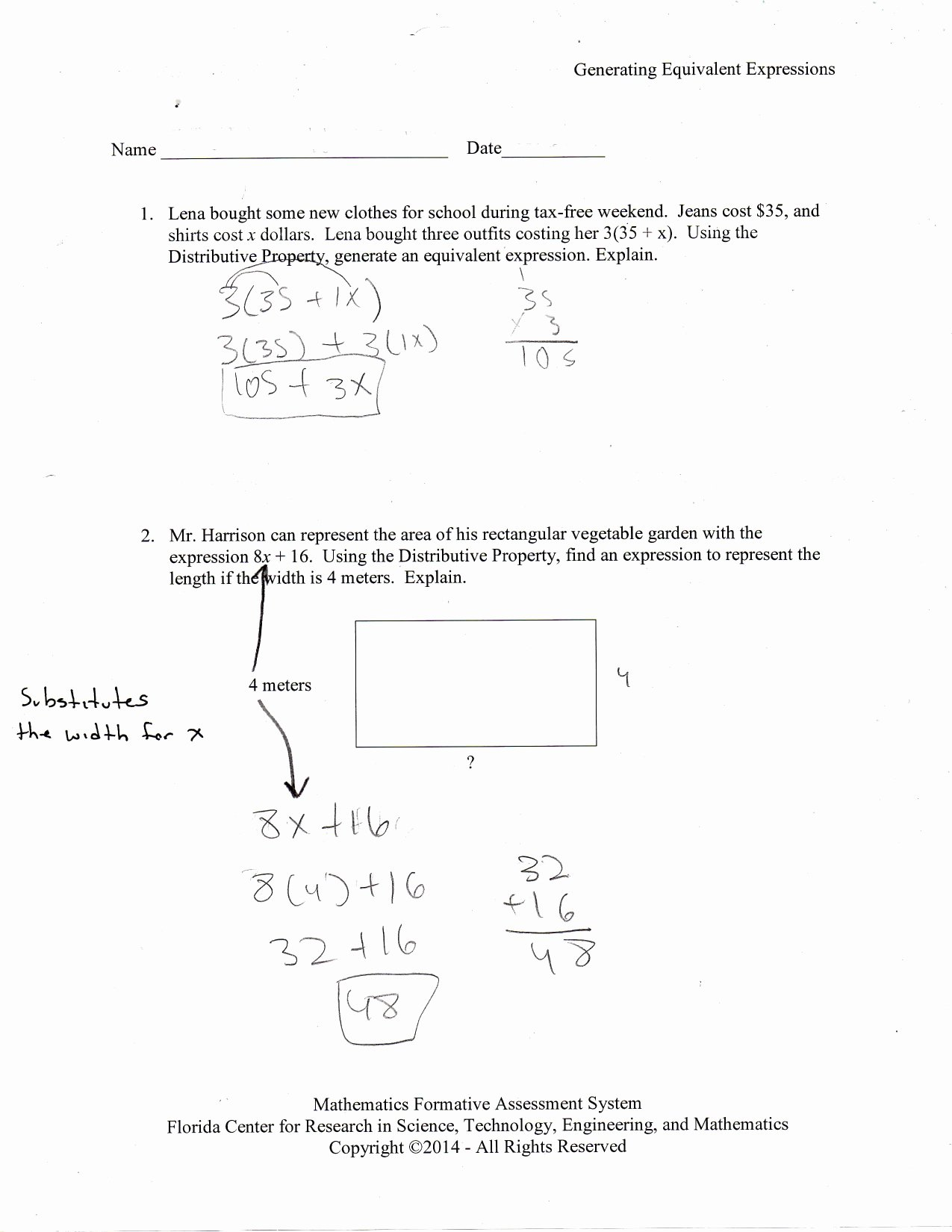 Equivalent Expressions Worksheet 6th Grade Inspirational Creating and solving Equations Lesson 2 Answers Worksheet