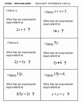 Equivalent Expressions Worksheet 6th Grade Inspirational Mon Core Math 6th Grade Equivalent Expressions 6 Ee 3