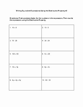 Equivalent Expressions Worksheet 6th Grade Inspirational Writing Equivalent Expressions Using the Distributive