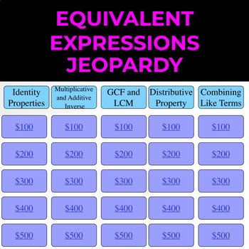 Equivalent Expressions Worksheet 6th Grade Lovely 6th Grade Equivalent Expressions Jeopardy by Math Mania