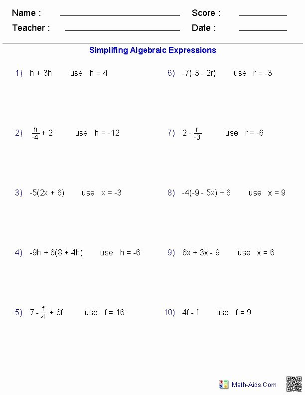 Equivalent Expressions Worksheet 6th Grade New Evaluating E Variable Worksheets