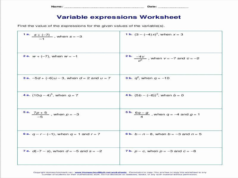Equivalent Expressions Worksheet 6th Grade Unique Equivalent Expressions Worksheet