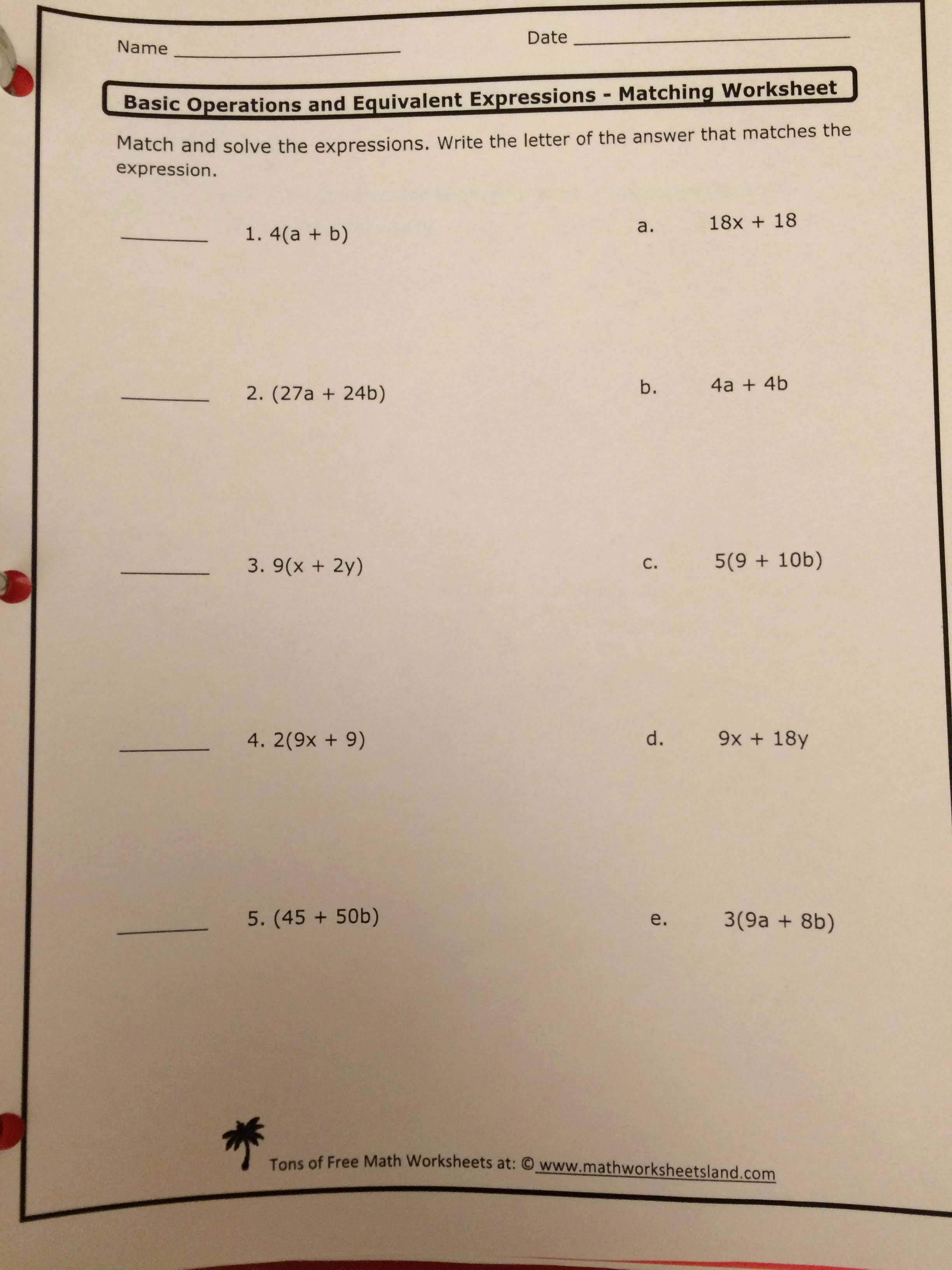 Equivalent Expressions Worksheet 6th Grade Unique Homework assignments and Notes Ms Al Raishouni S 6th