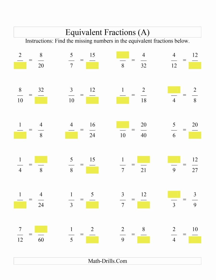 Equivalent Fractions Worksheet Pdf Inspirational Missing Numbers In Equivalent Fractions A