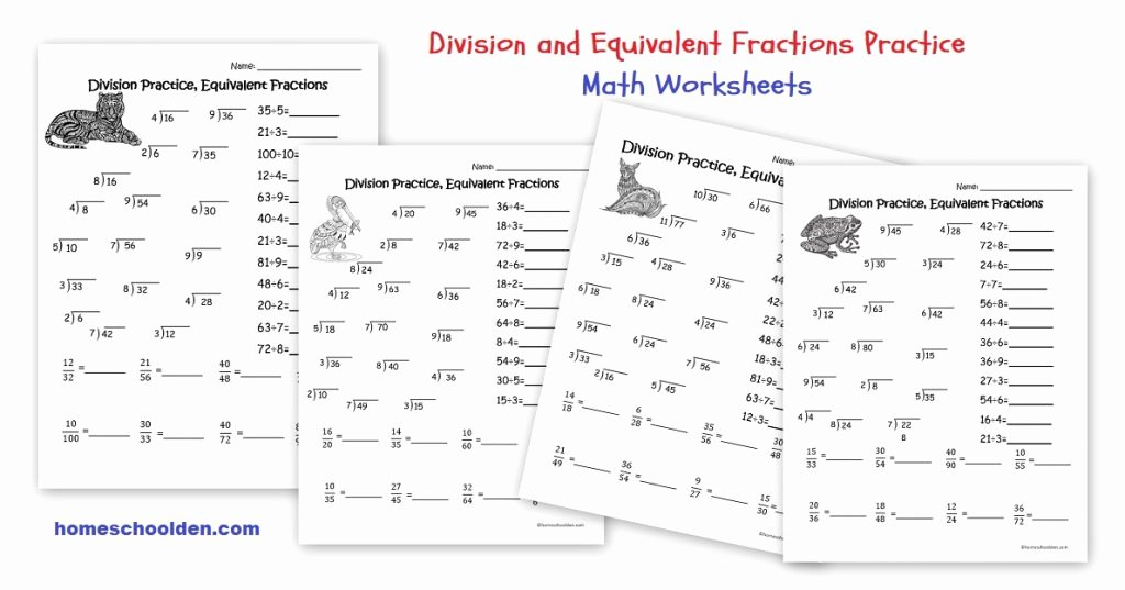 Equivalent Fractions Worksheet Pdf Lovely Division Practice Equivalent Fractions Worksheets