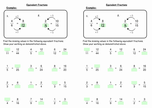 Equivalent Fractions Worksheet Pdf Unique Equivalent Fractions by Deechadwick Teaching Resources Tes