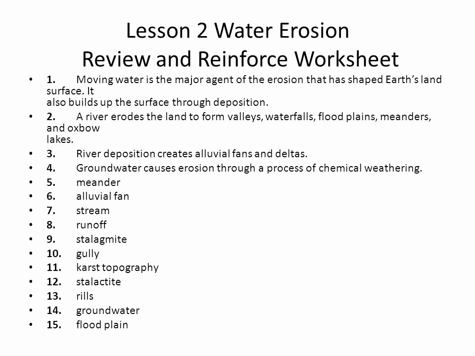 Erosion and Deposition Worksheet Lovely Erosion Earth Science Glacier Worksheets Erosion Best