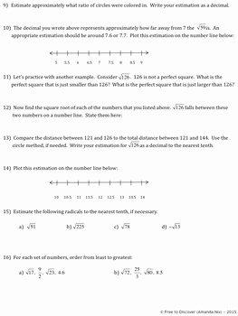 Estimating Square Root Worksheet Elegant Estimating Square Roots Discovery Worksheet and Number