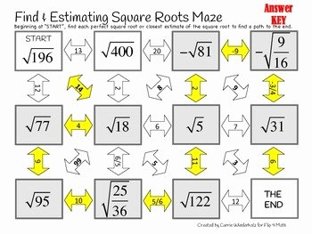 Estimating Square Root Worksheet Inspirational Finding and Estimating Square Roots Maze by Flip 4 Math