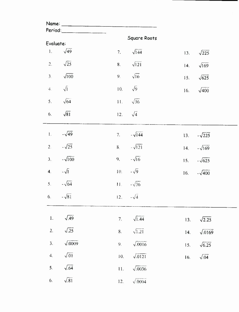 Estimating Square Root Worksheet Luxury Square Root Worksheets – Skgold