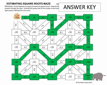 Estimating Square Root Worksheet New Estimating Square Roots Maze Activity by the Math Factory