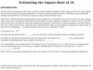 Estimating Square Root Worksheet Unique Estimating the Square Root Of Ten 9th 11th Grade