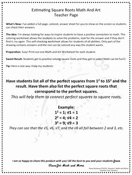 Estimating Square Roots Worksheet Beautiful 8th Grade Math Estimating Square Roots Math and Art
