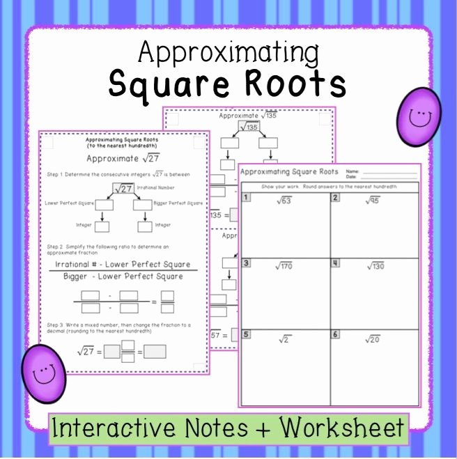 Estimating Square Roots Worksheet Inspirational Estimating Square Roots Interactive Notes and Worksheet