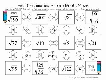 Estimating Square Roots Worksheet New Finding and Estimating Square Roots Maze by Flip 4 Math