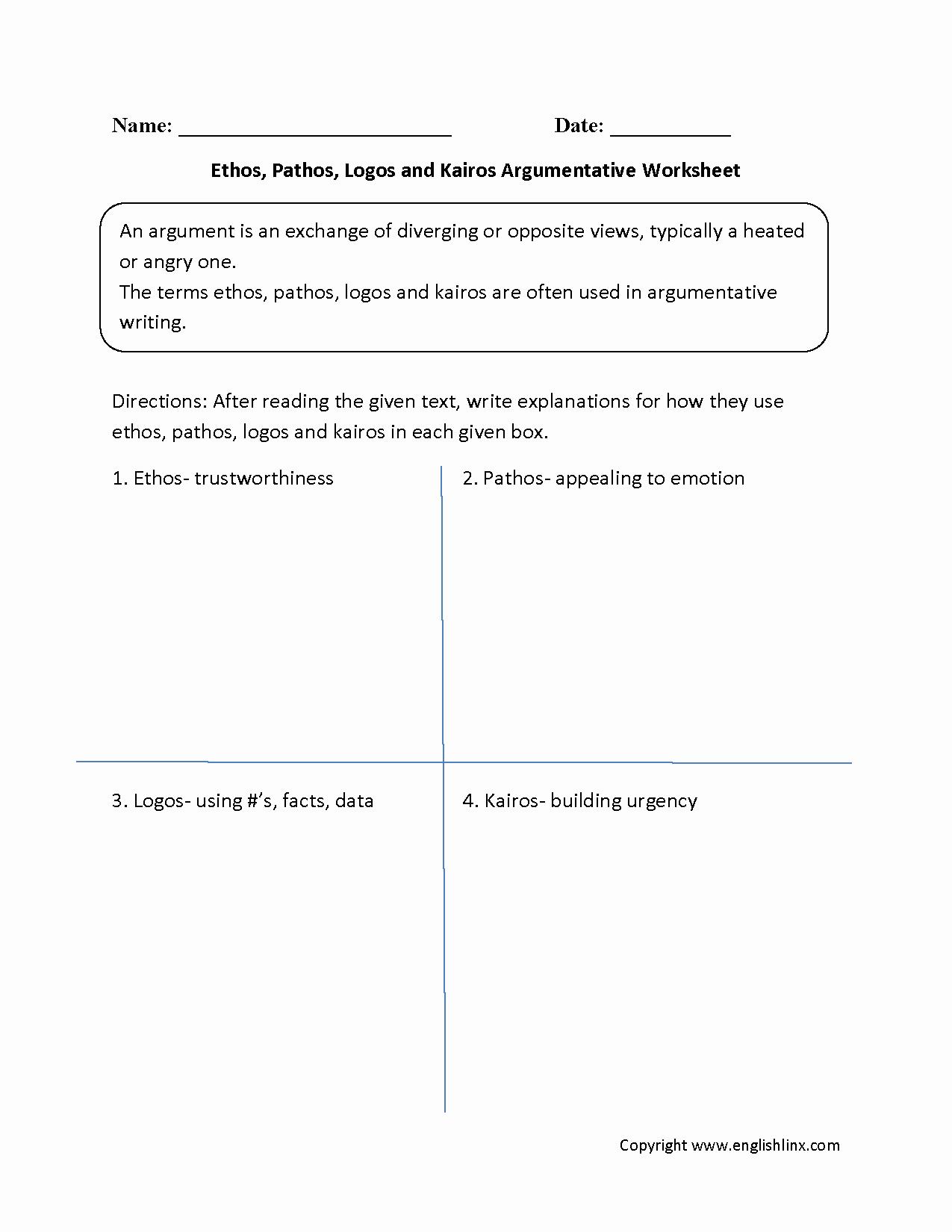 Ethos Pathos Logos Worksheet Answers Fresh Persuasive Essay Logos Ethos Pathos and Kairos Nav Menu