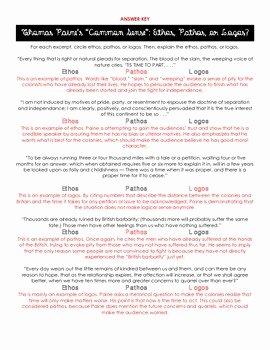 Ethos Pathos Logos Worksheet Answers Inspirational Thomas Paine S Mon Sense Ethos Pathos and Logos