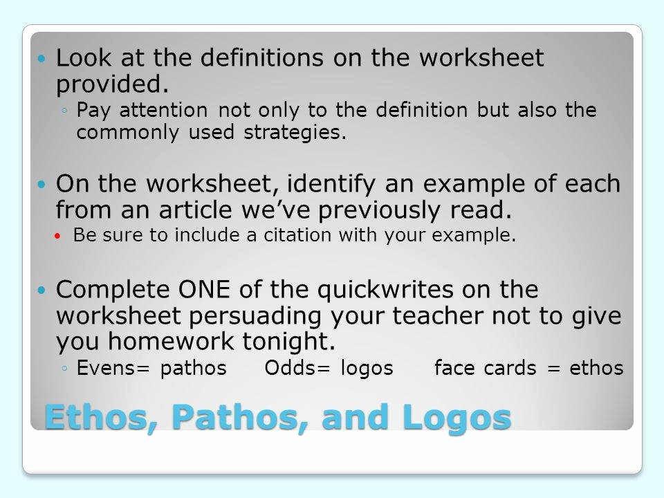 Ethos Pathos Logos Worksheet Answers Unique Ethos Pathos Logos Worksheet