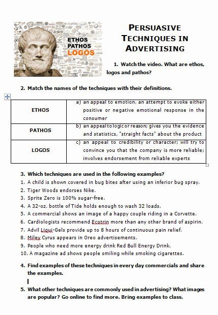 Ethos Pathos Logos Worksheet Awesome Movie Worksheet Persuasive Techniques In Advertising