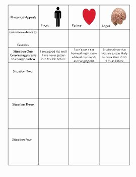 Ethos Pathos Logos Worksheet Luxury Ethos Pathos Logos Graphic organizer by Eb Education