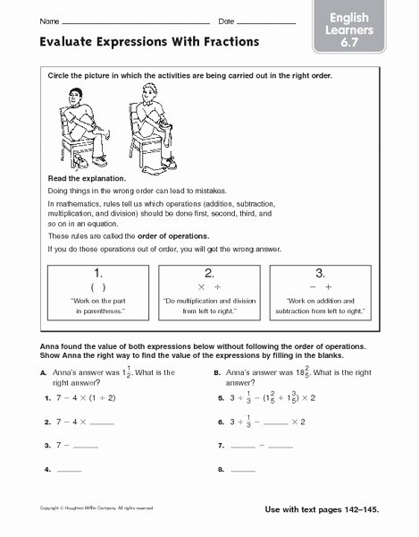 Evaluate the Expression Worksheet Beautiful Evaluate Expressions with Fractions English Learners