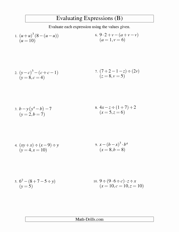 Evaluate the Expression Worksheet Elegant Algebra Worksheet Evaluating Five Step Algebraic