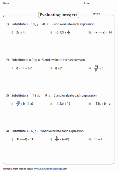 Evaluate the Expression Worksheet Elegant Integers Worksheets