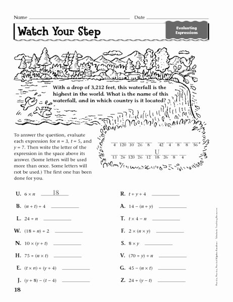 Evaluate the Expression Worksheet Fresh Watch Your Step Evaluating Expressions Worksheet for 6th
