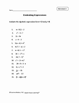 Evaluate the Expression Worksheet Inspirational Evaluating Expressions Worksheets and Task Cards Algebra