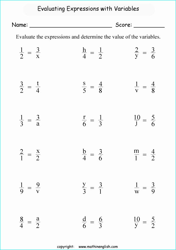 Evaluate the Expression Worksheet Lovely Evaluate Expressions Worksheets Fifth Grade Math Evaluate