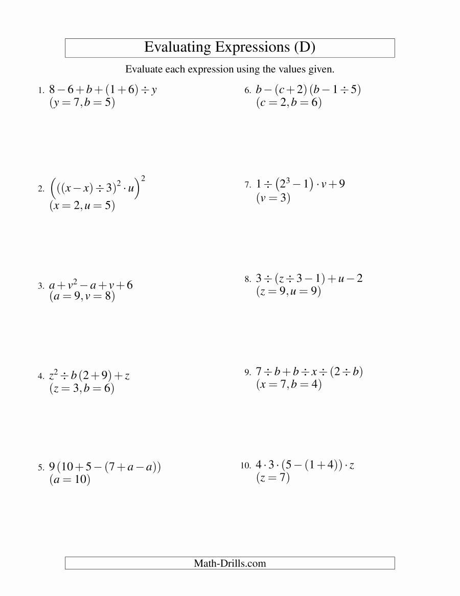 Evaluating Algebraic Expressions Worksheet Beautiful Evaluating Five Step Algebraic Expressions with Three