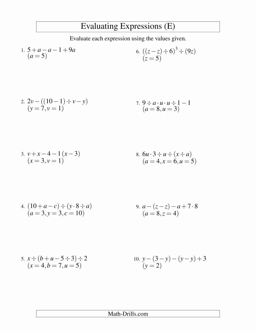 Evaluating Algebraic Expressions Worksheet Best Of Evaluating Five Step Algebraic Expressions with Three