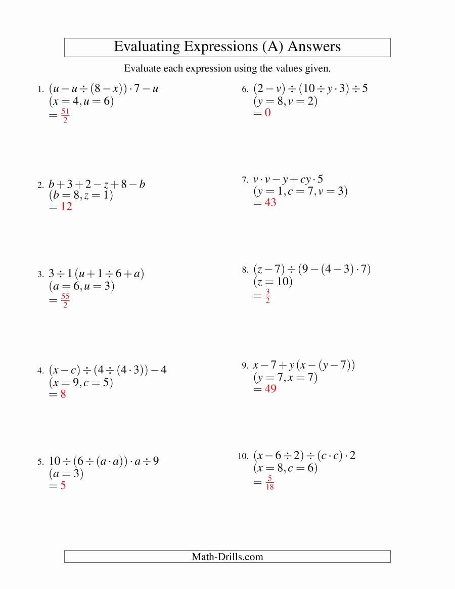 Evaluating Algebraic Expressions Worksheet Elegant Evaluating Five Step Algebraic Expressions with Three