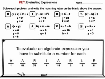 Evaluating Algebraic Expressions Worksheet Lovely Evaluating Algebraic Expressions Worksheet Math Message