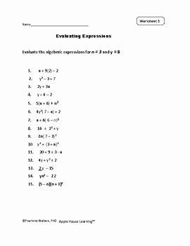 Evaluating Algebraic Expressions Worksheet Pdf Beautiful Evaluating Expressions Worksheets and Task Cards Algebra