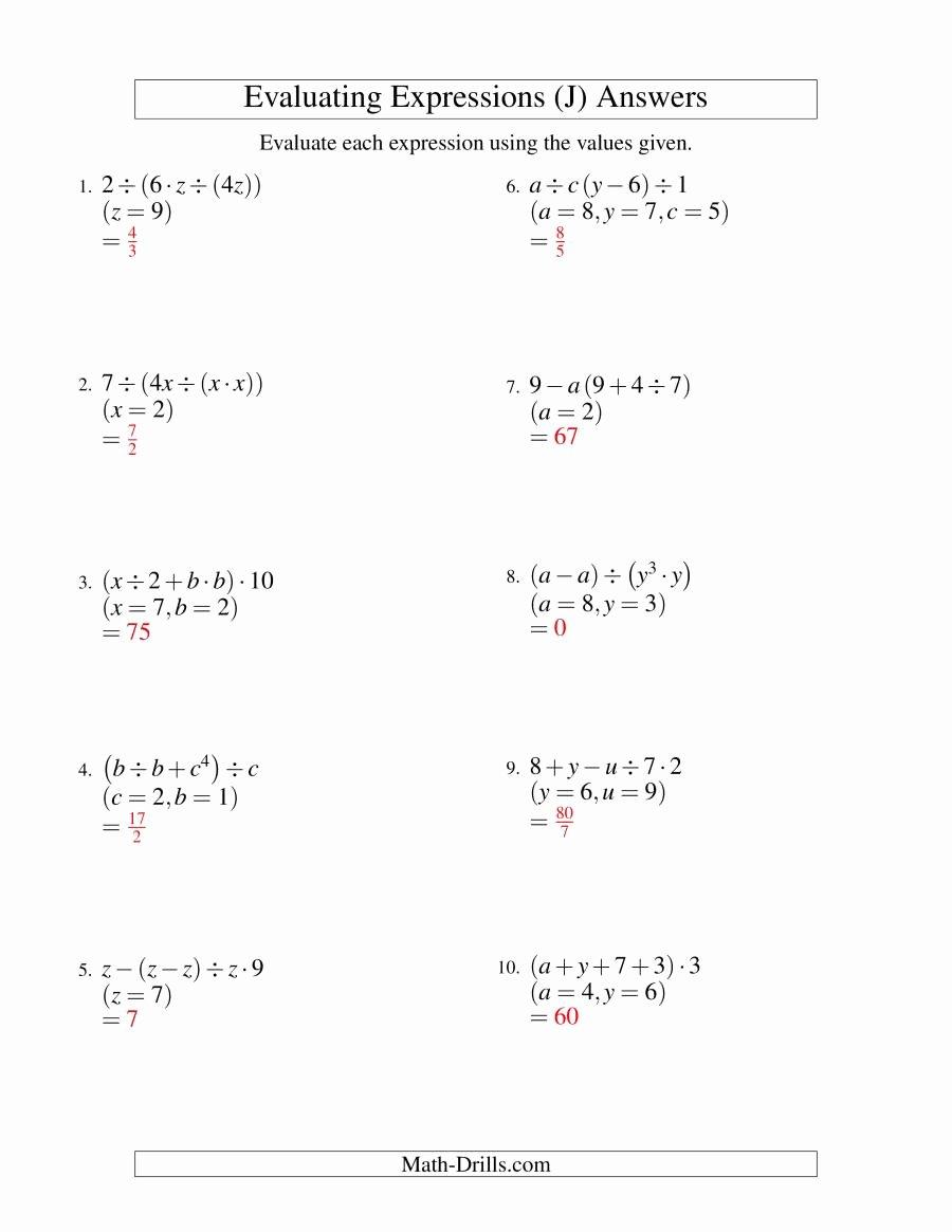 Evaluating Algebraic Expressions Worksheet Pdf Elegant Evaluating Four Step Algebraic Expressions with Three
